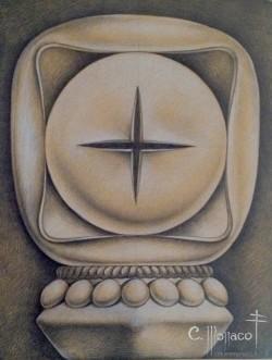 PROGETTO PER IL RELIQUIARIO DI S. TADINI-fronte -matita e gesso bianco 58x82